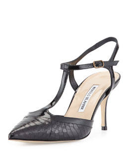 Wotton Snake/Patent T-Strap Pump, Black