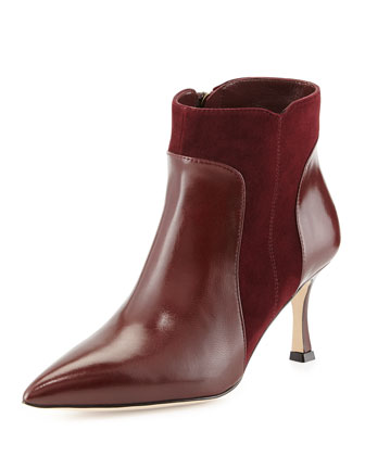 Manolo Blahnik Somma Mixed-Leather Ankle Boot, Burgundy
