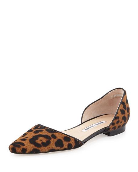Soussaba Leopard-Print Calf Hair Flat, Black