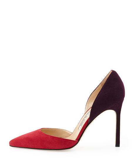 Tayler Bicolor d'Orsay Pump, Red