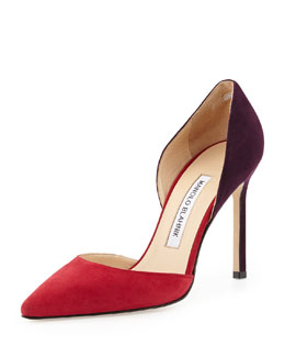 Manolo Blahnik Tayler Bicolor d'Orsay Pump, Red