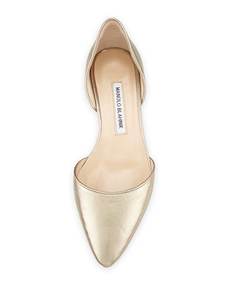 Soussaba Metallic Pointed-Toe Flat, Gold