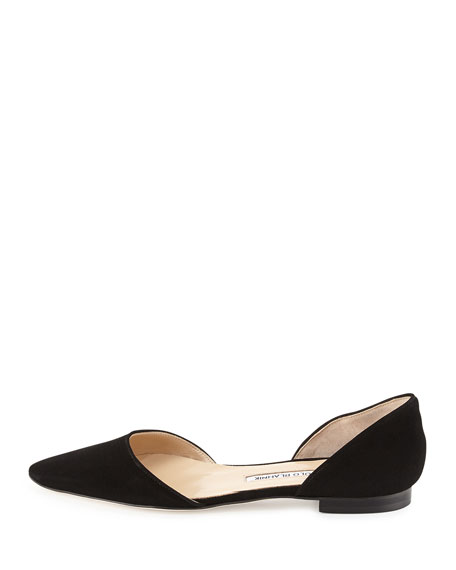 Soussaba Suede Pointed-Toe Flat, Black