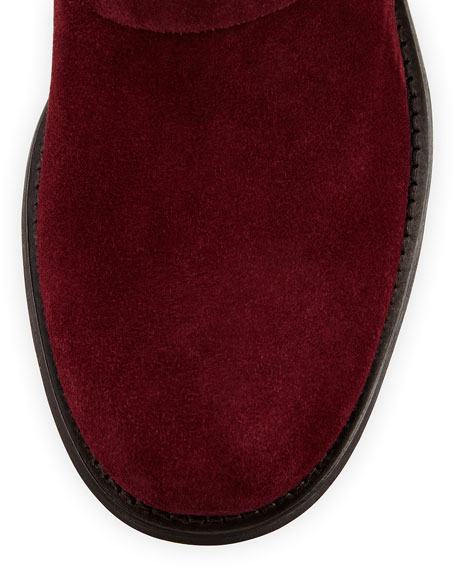 Youth Short Suede Biker Boot, Burgundy