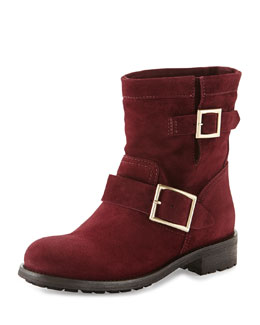 Jimmy Choo Youth Short Suede Biker Boot, Burgundy
