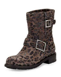 Jimmy Choo Youth Leopard-Print Short Boot, Gray