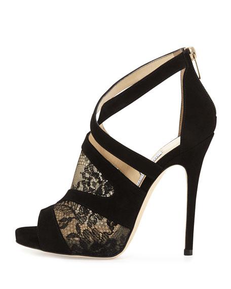 Vantage Lace-Inset Suede Sandal, Black