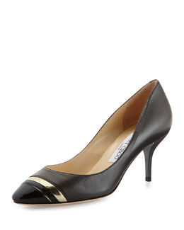 Jimmy Choo Laden Cap-Toe Combo Pump, Gray