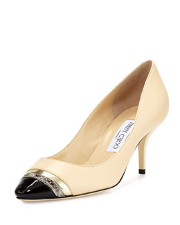 Jimmy Choo Laden Cap-Toe Combo Pump, Cream
