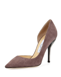 Jimmy Choo Willis Suede Half d'Orsay Pump, Gray