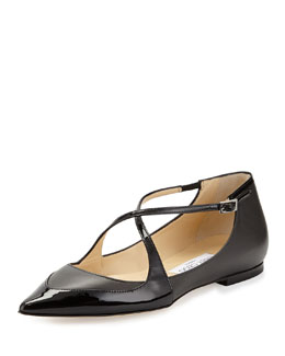 Jimmy Choo Gamble Crisscross Ballerina Flat, Gray
