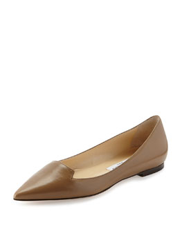 Jimmy Choo Attila Leather Point-Toe Flat, Taupe