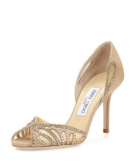 Jimmy Choo Kamba Crystal-Degrade d'Orsay Sandal, Neutral