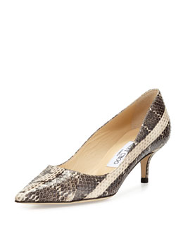 Jimmy Choo Aza Snake Pointed-Toe Pump, Cream