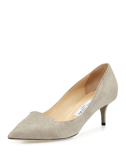 Jimmy Choo Allure Pointed Suede Loafer Pump, Gray