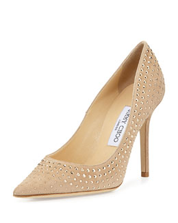 Jimmy Choo Abel Studded Suede Pump, Neutral