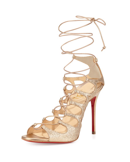 red spiked louboutins - Christian Louboutin Aqueduchesse Glitter Lace-Up Red Sole Sandal