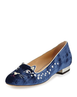 Charlotte Olympia Party Kitty Velvet Slipper, Navy