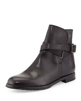 Manolo Blahnik Sulgamba Leather Ankle Boot