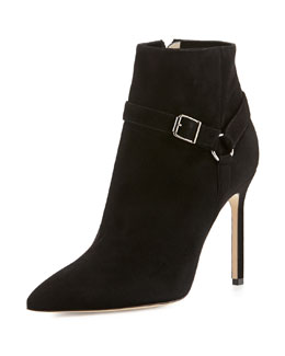 Manolo Blahnik Rhecha Suede Harness Ankle Boot