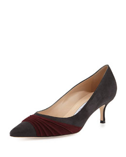 Manolo Blahnik Golda Ruched Suede Pointy Pump, Gray