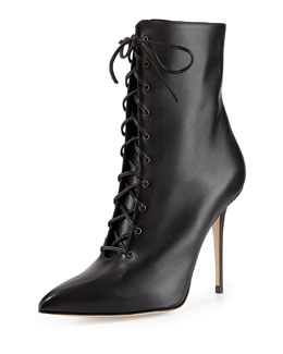Manolo Blahnik Bordin Pointed Lace-Up Bootie