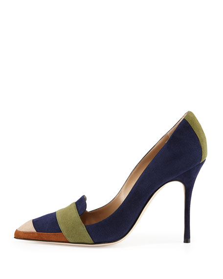 Durut Colorblock Suede Pump, Navy