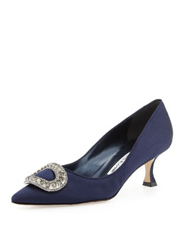 Manolo Blahnik Newsi Crystal-Buckle Satin Pump, Navy