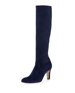 Manolo Blahnik Pascaputre Suede Tall Boot, Navy
