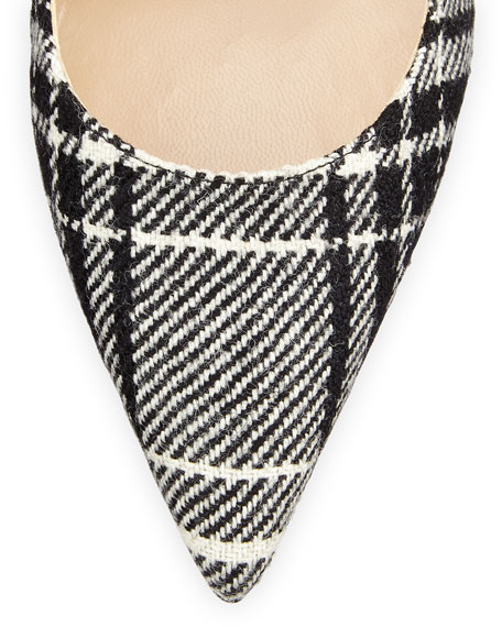 BB Wool Plaid Pump, Black/White
