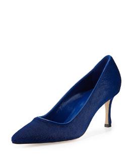 Manolo Blahnik BB Calf Hair Mid-Heel Pump, Blue