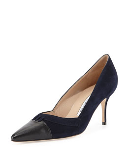 Manolo Blahnik Kally Suede Cap-Toe Pump, Navy