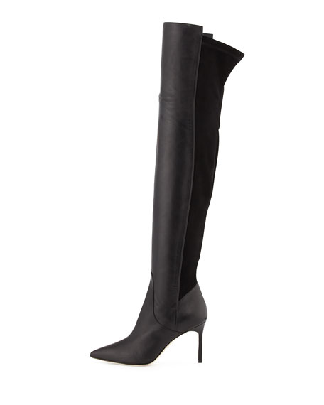 Pasterra Mixed-Leather Over-the-Knee Boot