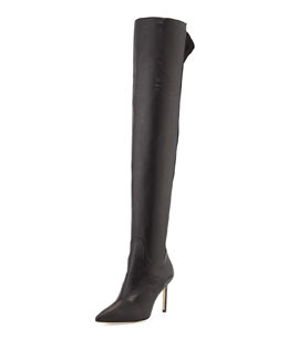 Manolo Blahnik Pasterra Mixed-Leather Over-the-Knee Boot