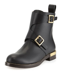 Chloe Double-Buckled Leather Ankle Boot, Black