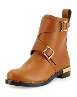 Chloe Leather Monk-Strap Ankle Boot, Tan