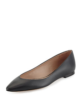 Chloe Leather Point-Toe Ballerina Flat, Black