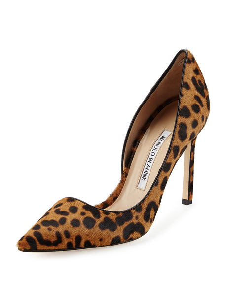 Stresty Leopard-Print Calf Hair Pump