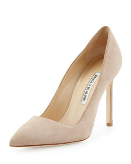 BB Suede Point-Toe Pump, Beige