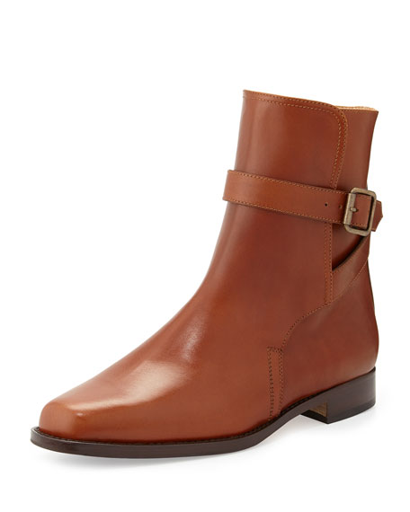 Sultana Buckled Flat Ankle Boot, Medium Brown