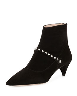 Miu Miu Suede Studded-Strap Ankle Boot