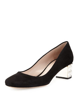 Miu Miu Suede Crystal-Heel Low Pump