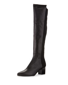 Stuart Weitzman Demisvelt Point-Toe Knee Boot, Black