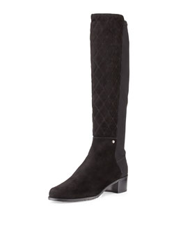 Stuart Weitzman Guard Quilted Suede Tall Boot, Black
