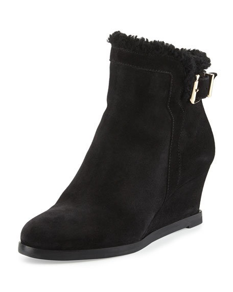 Shearling-Lined Suede Wedge Bootie, Black