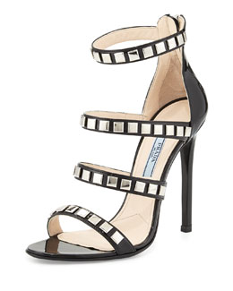 Prada Studded Strappy Patent Cage Sandal