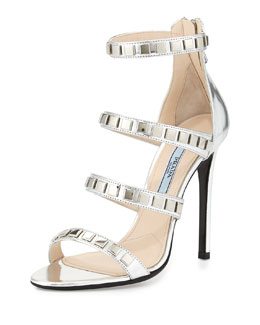 Prada Metallic Studded Strappy Sandal