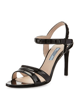 Prada Studded Patent Ankle-Wrap Sandal