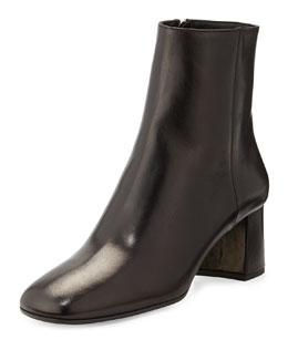 Leather Block-Heel Bootie, Black