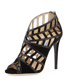 Jimmy Choo Vector Strappy Peep-Toe Sandal, Black